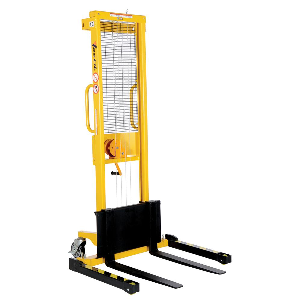 770 lb. Capacity 2 to 59 in. High Manual Hand Winch Stacker