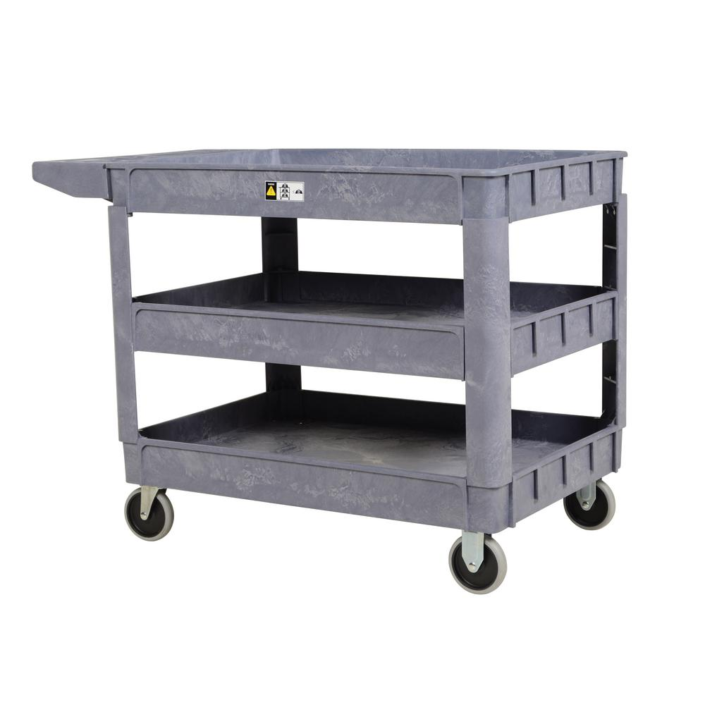 24.5 in. x 36 in. 3 Shelf Plastic Utility Cart