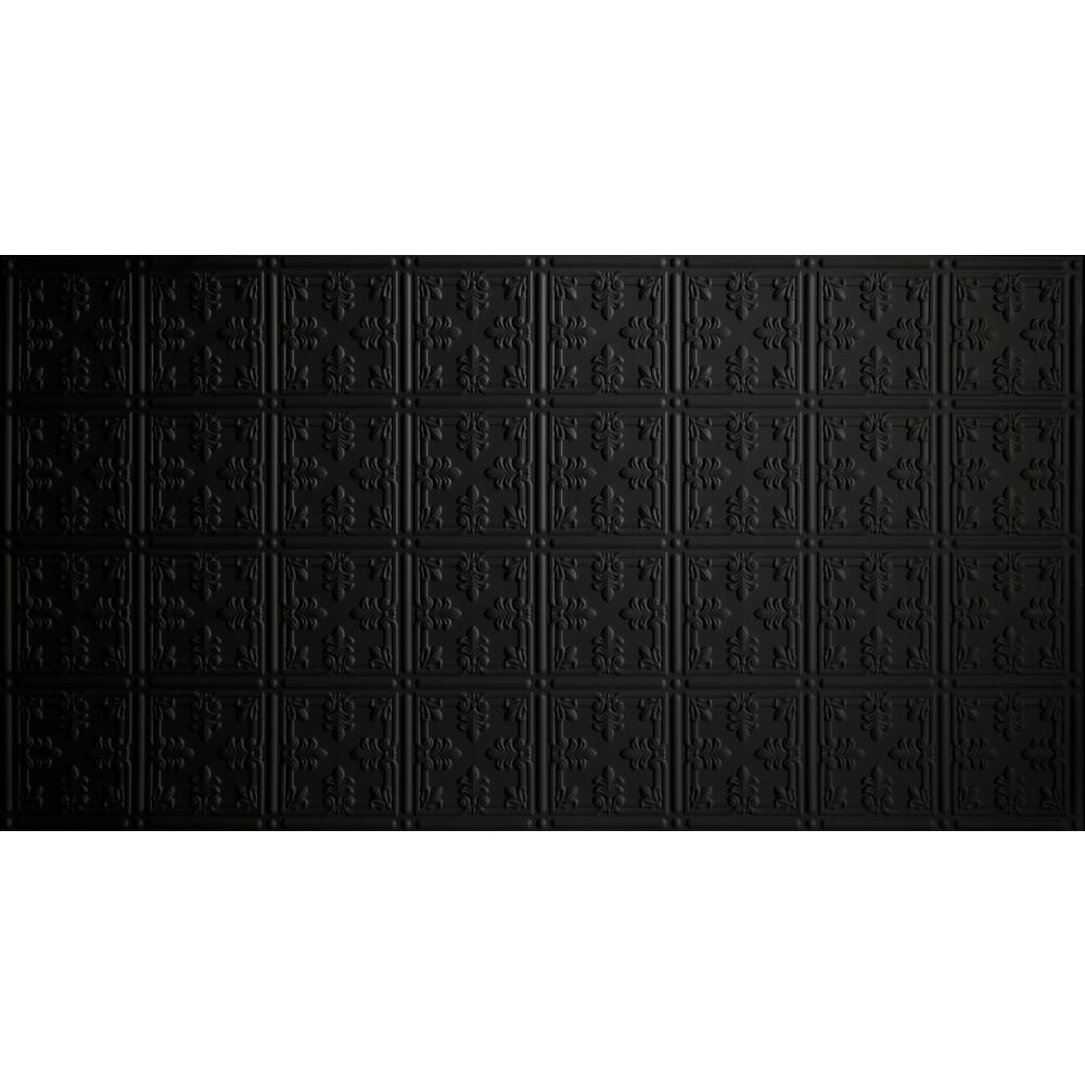 Faux 2 ft. x 4 ft. Glue-up Tin Style Surface Mount Ceiling Tile in Black