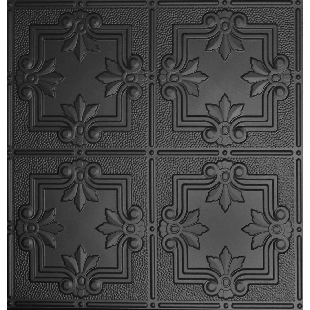 Dimensions 2 ft. x 2 ft. Lay-in Ceiling Tile in Matte Black for T-Grid Systems