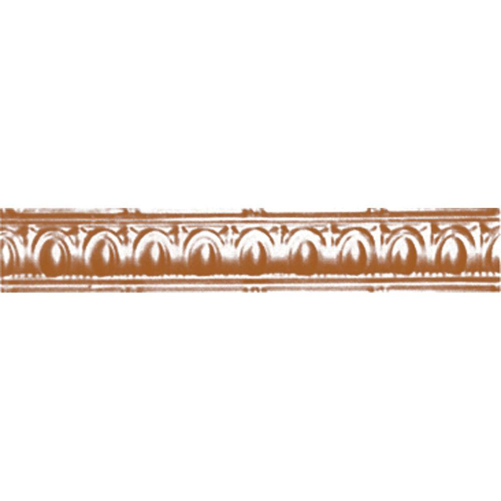 3-1/2 in. x 4 ft. x 3-1/2 in. Satin Copper Nail-up/Direct Application Tin Ceiling Cornice (6-Pack)