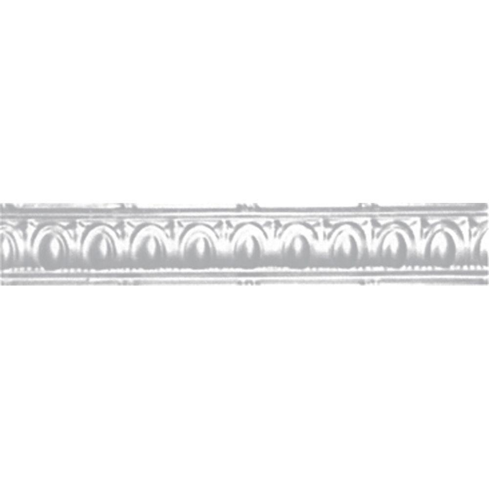 3-1/2 in. x 4 ft. x 3-1/2 in. Powder-Coated White Nail-up/Direct Application Tin Ceiling Cornice (6-Pack)
