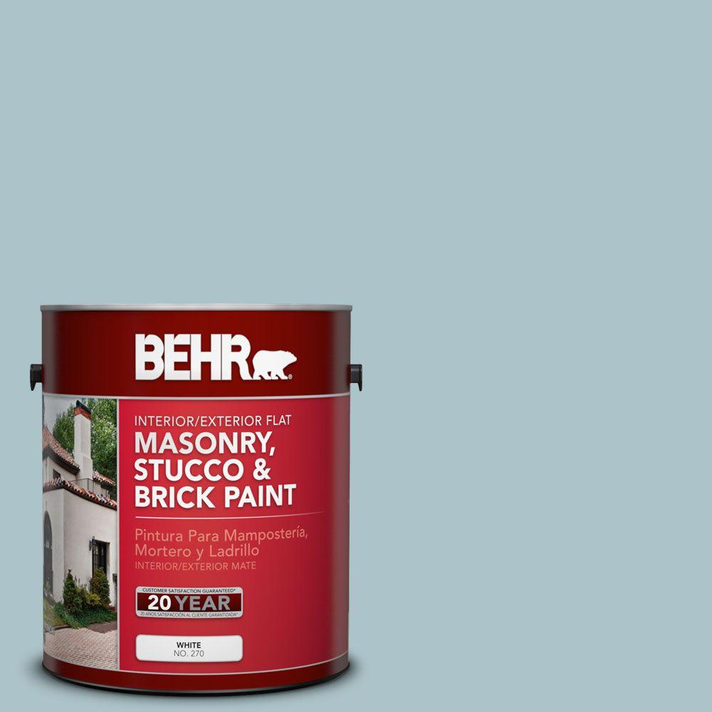 1 gal. #MS-71 Pacific Blue Flat Interior/Exterior Masonry, Stucco and Brick Paint