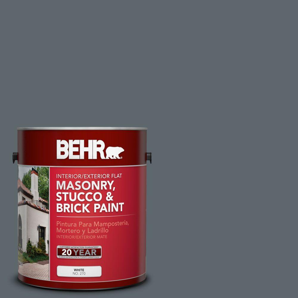 1-gal. #MS-70 Evening Blues Flat Interior/Exterior Masonry, Stucco and Brick Paint