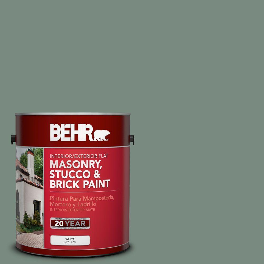 1-gal. #MS-61 Frosted Green Flat Interior/Exterior Masonry, Stucco and Brick Paint