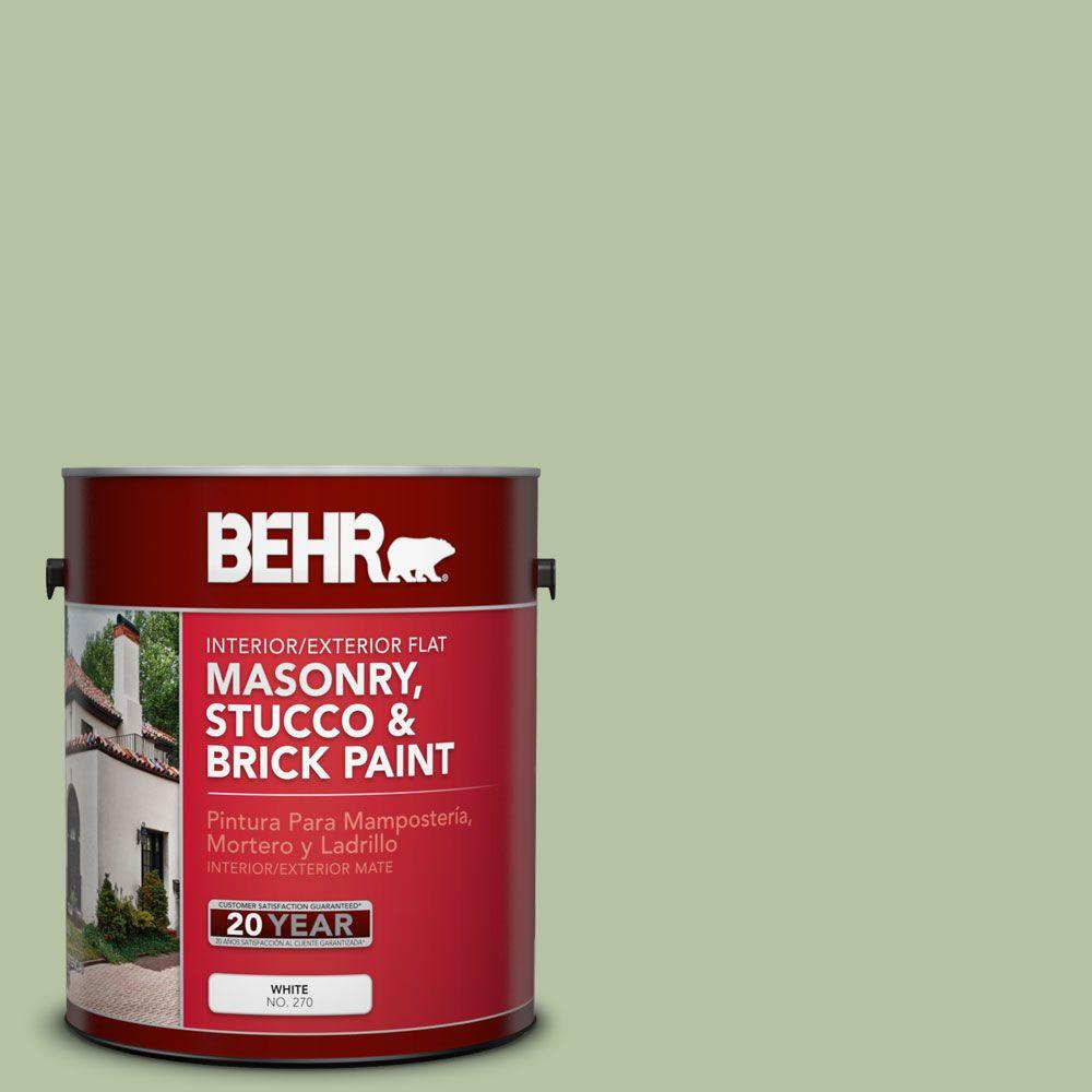 1-gal. #MS-57 Soft Green Flat Interior/Exterior Masonry, Stucco and Brick Paint