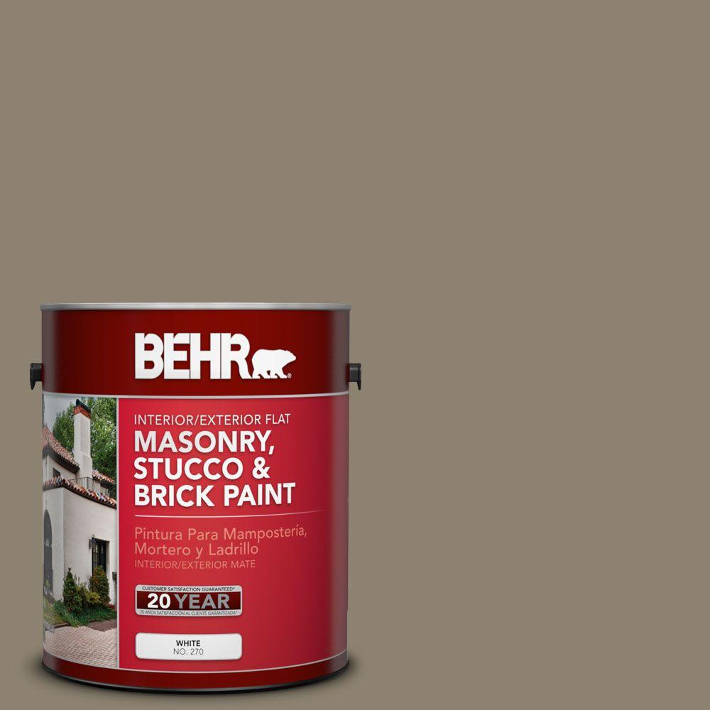 1-gal. #MS-53 Woodstock Green Flat Interior/Exterior Masonry, Stucco and Brick Paint